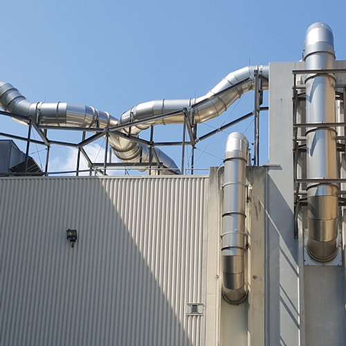 PSP odor control vent pipes at wastewater treatment plant